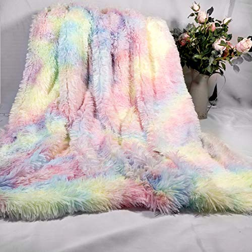 MYRU Plush Super Soft Blanket Colorful Bedding Sofa Cover Furry Fuzzy Fur Warm Throw Cozy Couch Blanket for Winter (51'x63', Rainbow)