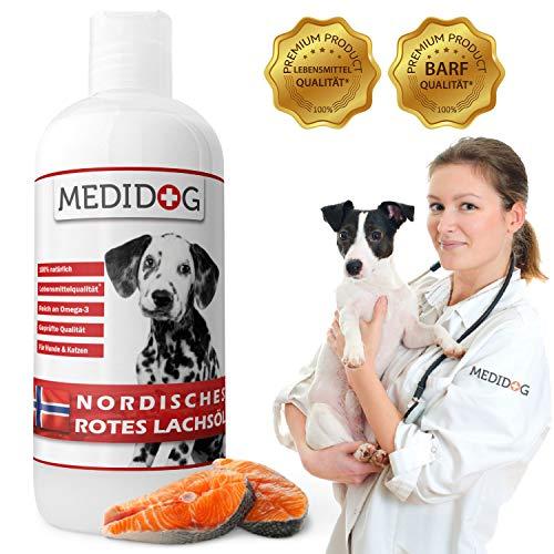 Medidog 1 Liter Rotes Lachsöl für Hunde und Katzen reich an Omega-3 Fettsäuren EPA, DHA, ALA I Lachsöl Hunde kaltgepresst I Fischöl Hund, Barf Öl