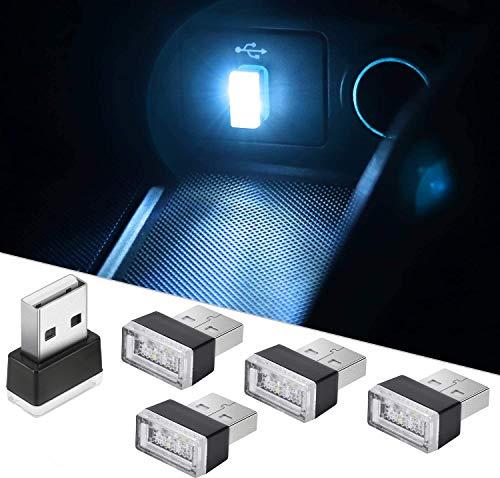 CTRICALVER Auto-USB-Beleuchtung, Mini-USB-Licht, Auto-Umgebungslicht, Auto-Umgebungslicht für Auto-Laptop-Powerbank (5 Stück Eisblau)