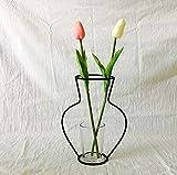 Carolilly - Jarrón de hierro forjado negro con marco de hierro geométrico, soporte metálico para plantas, jarrón creativo decorativo para salón, oficina, dormitorio (cristal no incluido)