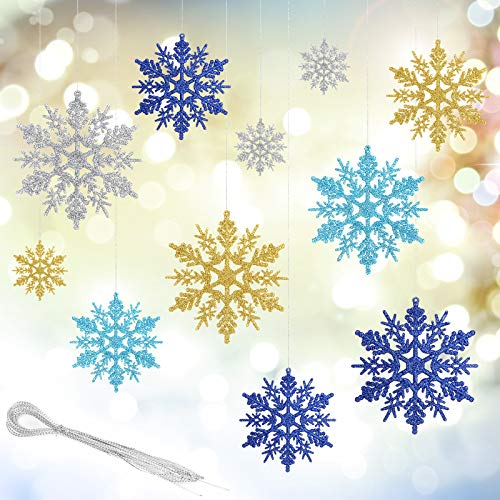 Aitsite 24 Stück Glitzer Schneeflocken Ornamente, 4 Zoll Kunststoff hängendes Handwerk für zu Hause Weihnachten Hochzeit Urlaub Party Dekorationen(6 Gold + 6 Silber + 6 Hellblau + 6 Dunkelblau)