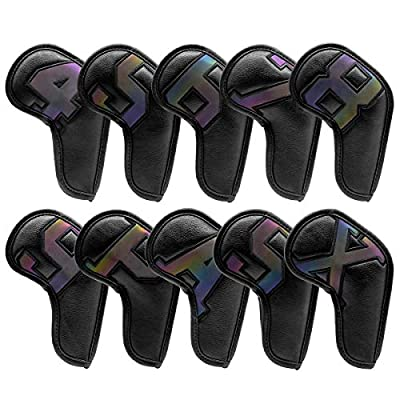 Golf Iron Covers 10pcs,Golf Iron Head Covers Leather Golf Iron Covers Set Black Golf Iron Headcovers with Laser Number Tag,Golf Club Head Covers for Iron with Magic Tape Fit Titleist,Callaway,Ping