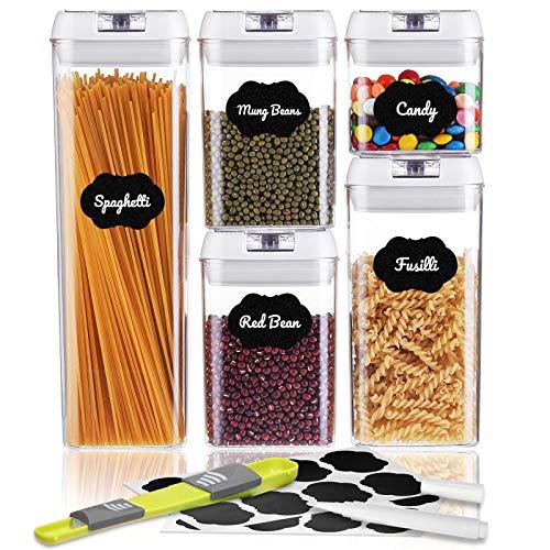 SAWAKE 5 Juegos de Recipientes Herméticos Alimentos, Contenedor de Almacenamiento Plástico con Tapas,Botes de Cocina Herméticos para Pasta, Harina, Cereal, Frijol sin BPA con 16 Etiquetas y 1 Marcador