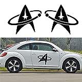 2pcs / set star trek logo autocollant de voiture voitures côté camion auto suv porte décalque décor à la maison en verre tuile