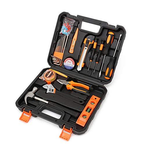 Dazhou Kit de herramientas de reparación del hogar, conjunto de herramientas para el hogar, kit de herramientas manuales para reparación de automóviles en el hogar con caja de herramientas