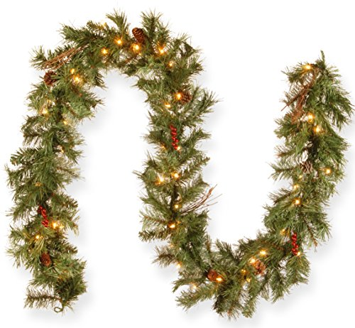 National Tree Company Christmas National Tree 9 Foot by 10 Inch Glistening Pine Garland with Berries, Cones, Twigs and 50 Clear Lights (GN19-300-9A-1), 9' x 10'