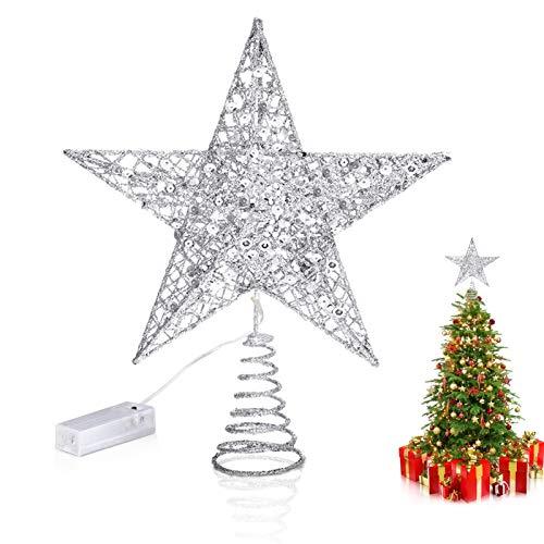 Weihnachtsbaum Stern,Topper Lichter,Weihnachtsbaumspitze glitzernder,baumkronen Lampe,beleuchtete Sterne,funkelnden Sterne,Weihnachtsbaumspitze Dekoration,Weihnachten Dekoration LED (Silber)