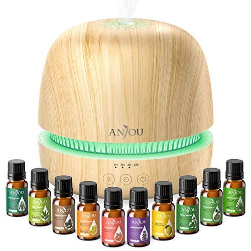 Anjou Aroma Diffuser mit 10 Ätherische Öle Set für kontinuierliche Aromatherapie, 23dB Ultra Leise Aroma Diffuser Luftbefeuchter mit 2 Nebelstufen, 7 Lichtfarben and Timer für Büro Lernen Yoga Spa