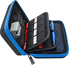 Brendo Carrying Case for Nintendo 2DS XL, 3DS XL, 3DS Case, Fits Wall Charger, 24 Game Cartridge Holders and Large Stylus - BLACK/BLUE