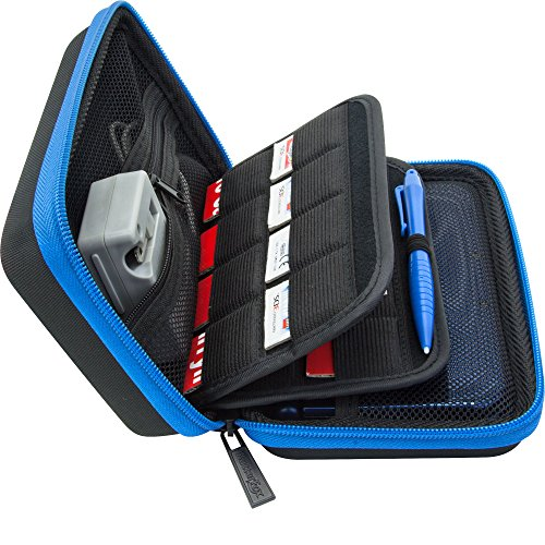 Brendo Carrying Case for New Nintendo 2DS XL, 3DS XL, 3DS Case, Fits Wall Charger, 24 Game Cartridge Holders and Large Stylus - BLACK/BLUE