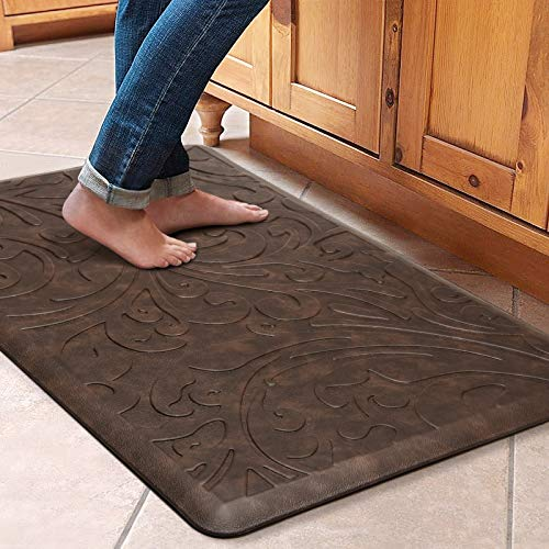 KMAT Kitchen Mat Cushioned Anti-Fatigue Floor Mat Waterproof Non-Slip Standing Mat Ergonomic Comfort Floor Mat Rug for Home,Office,Sink,Laundry,Desk 20'(W) x 30'(L),Brown
