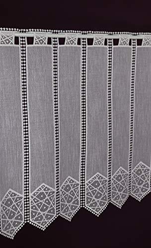 Scheibengardine nach Maß Macramee -Lamellenpanneau Häkel Gardine Kurzstore Landhaus Spitze Nostalgie Batist Optik Höhe 63 cm - Breite der Gardine durch Stückzahl in 10,5 cm Schritten wählbar weiß