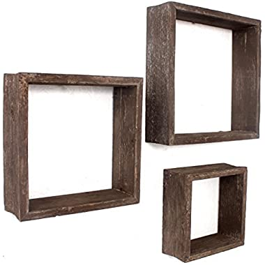 BarnwoodUSA Reclaimed Wooden Shelves - Set of 3 (8x8, 10x10, 12x12, Brown)