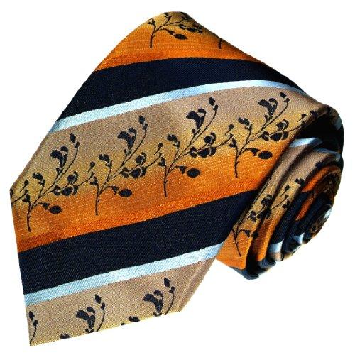 Lorenzo Cana - Luxus Marken Krawatte aus 100% Seide - Handgefertigte Seidenkrawatte - blau gold floral Streifen - 42029