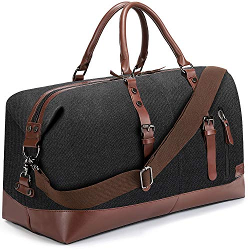 Fresion Carry on Bag Canvas Leather Weekender Overnight Holdall Tote Bag with Metal Buckle for Mens(Black)