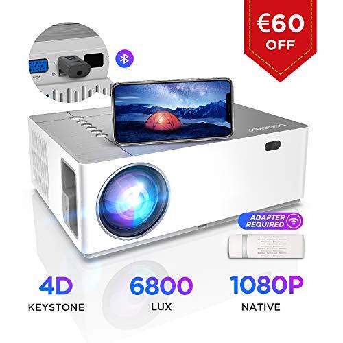 Proyector 6800 Lúmenes Full HD, 1080p Nativo, Contraste 9000:1, BOMAKER, Corrección Horizontal Vertical de ± 50 °, Pantalla de 300