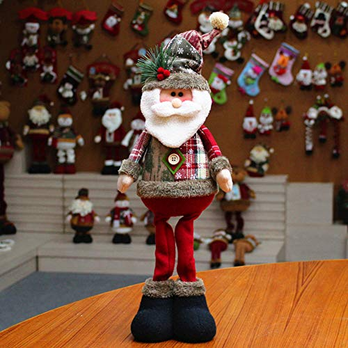Qchomee Christmas Standing Figurine Toy Xmas Santa Claus Snowman Reindeer Plush Dolls Home Indoor Table Ornament Decorations Christmas Party Tree Hanging Decor Toys Gifts for Kids Friends,48x18CM