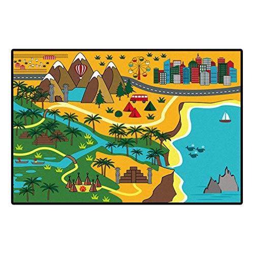 AMON LL RugsKids Tapijt Straat Kaart Speel Mat, Thema Park Educatieve Babyruimte Tapijten, Stad Leven Tapijt voor Speelkamer Kwekerij Slaapkamer Woonkamer