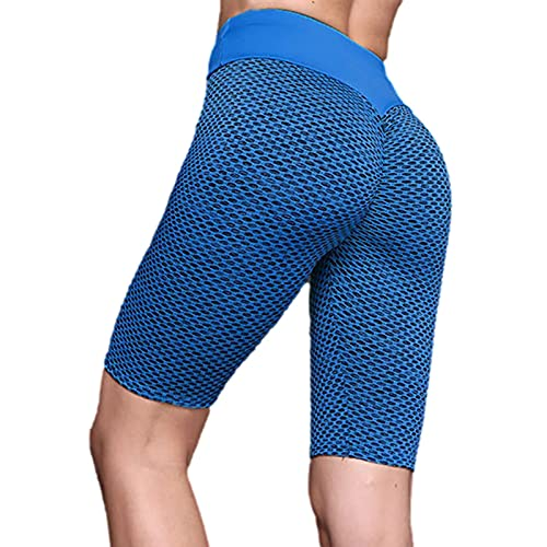 Luoyu Pantalones cortos de yoga para mujer, pantalones cortos de ciclismo de cintura alta para mujer, entrenamiento motorista, correr, atlético con bolsillos laterales