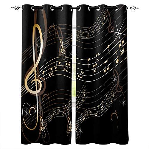 VBUEFM Cortinas Opacas Rayas de símbolo de música Blanco Oro Negro Cortinas con Perforaciones Cortinas Térmicas Aislantes Cortina Habitación para ventanas100% Poliester 75x166cm x2