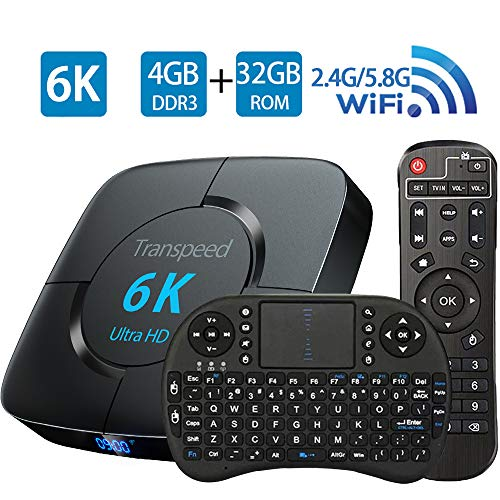 Android Tv Box 9.0, Android Box Support 3D 4K 6K Ultra HD H.265 USB 3.0 TV Box 4GB RAM 32GB ROM 2.4G 5.8G WiFi Allwinner H6 Quad Core 64bits with Bluetooth 4.0 and Mini Keyboard Set Top TV Box