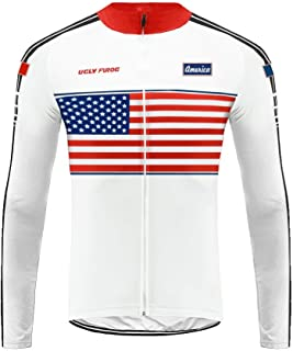 Uglyfrog National Flag Pattern Design Bike Wear Celebrity Plaid Painting Design Mens Cycling Jersey,MTB Long Sleeves Reflective Breathable Bike Clothing Set with Long Bib Pants Cycling Equipment