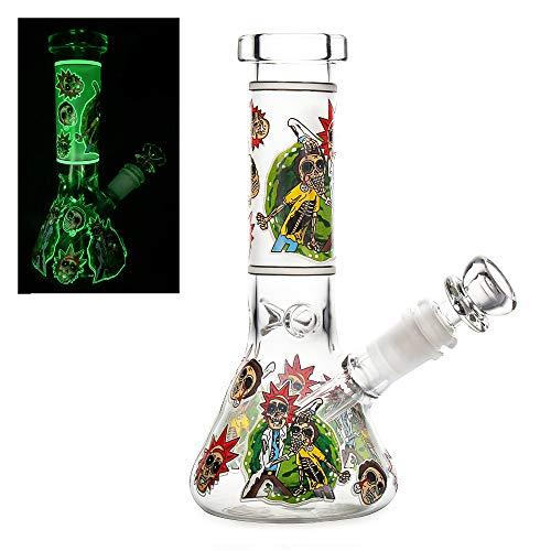 The7boX Pipas de agua de fumar de vidrio con vástago descendente 14 mm Bongs luminosos 21 cm 8.3 pulgadas