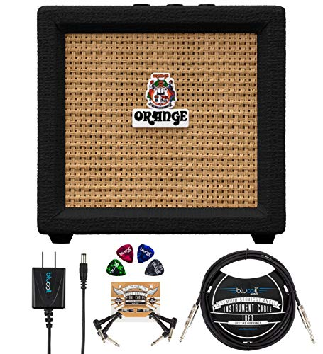 Orange Amps Crush Mini 3W Guitar Combo Amplifier (Black) Bundle with Blucoil Slim 9V Power Supply AC Adapter, 10' Straight Instrument Cable (1/4'), 2-Pack of Pedal Patch Cables, and 4x Guitar Picks