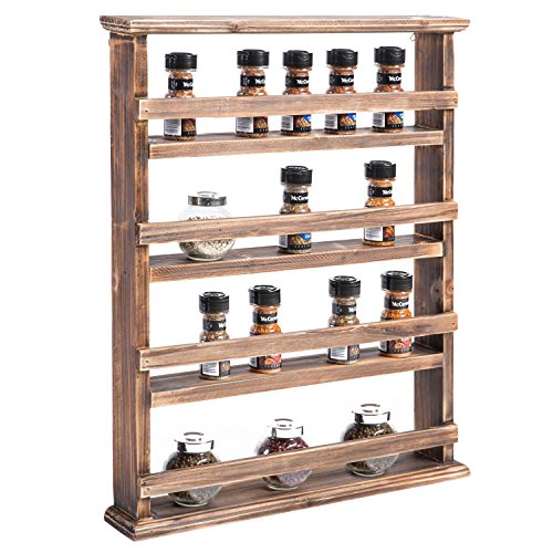 MyGift 4-Tier Country Rustic Wall-Mounted Wood Spice Rack...