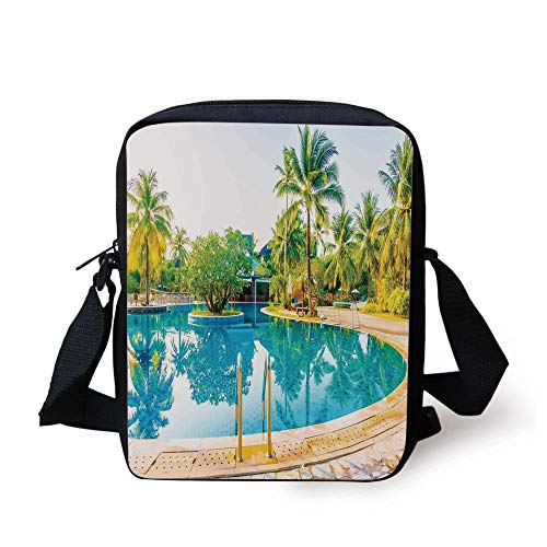 House Decor,Umbrella and Chair Around The Round Outdoor Pool Tourist Space Famous Spots Concept,Green Blue Cream Print Kids Crossbody Messenger Bag Purse