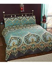 Rapport Emerald Indian Design Dekbedovertrek en 2 kussensloop Bed Set, Polyester-katoen, dubbel