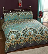 Rapport Emerald Indian Design Duvet Quilt Cover And 2 Pillowcase Bed Set, Polyester-Cotton, Double, ...
