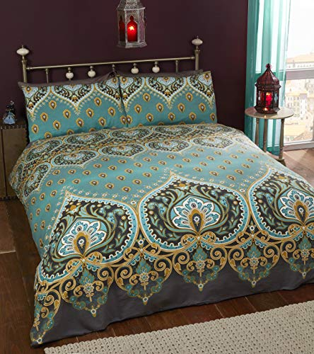 Rapport Emerald Indian Design Duvet Quilt Cover And 2 Pillowcase Bed Set, Polyester-Cotton, Double