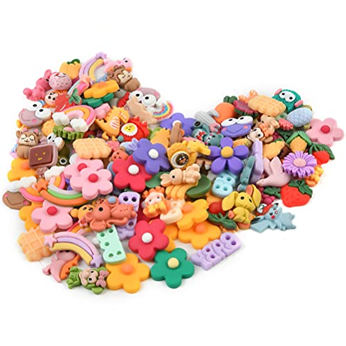 100 Pcs Slime Charms Set, Soft Clay Flat Back Resin Slime Charms, Cute & Creative Mixed Assorted Flower Animals Handmade Accessories, Great for Decoration, DIY Crafts, Brooches, Hairpin Accessories