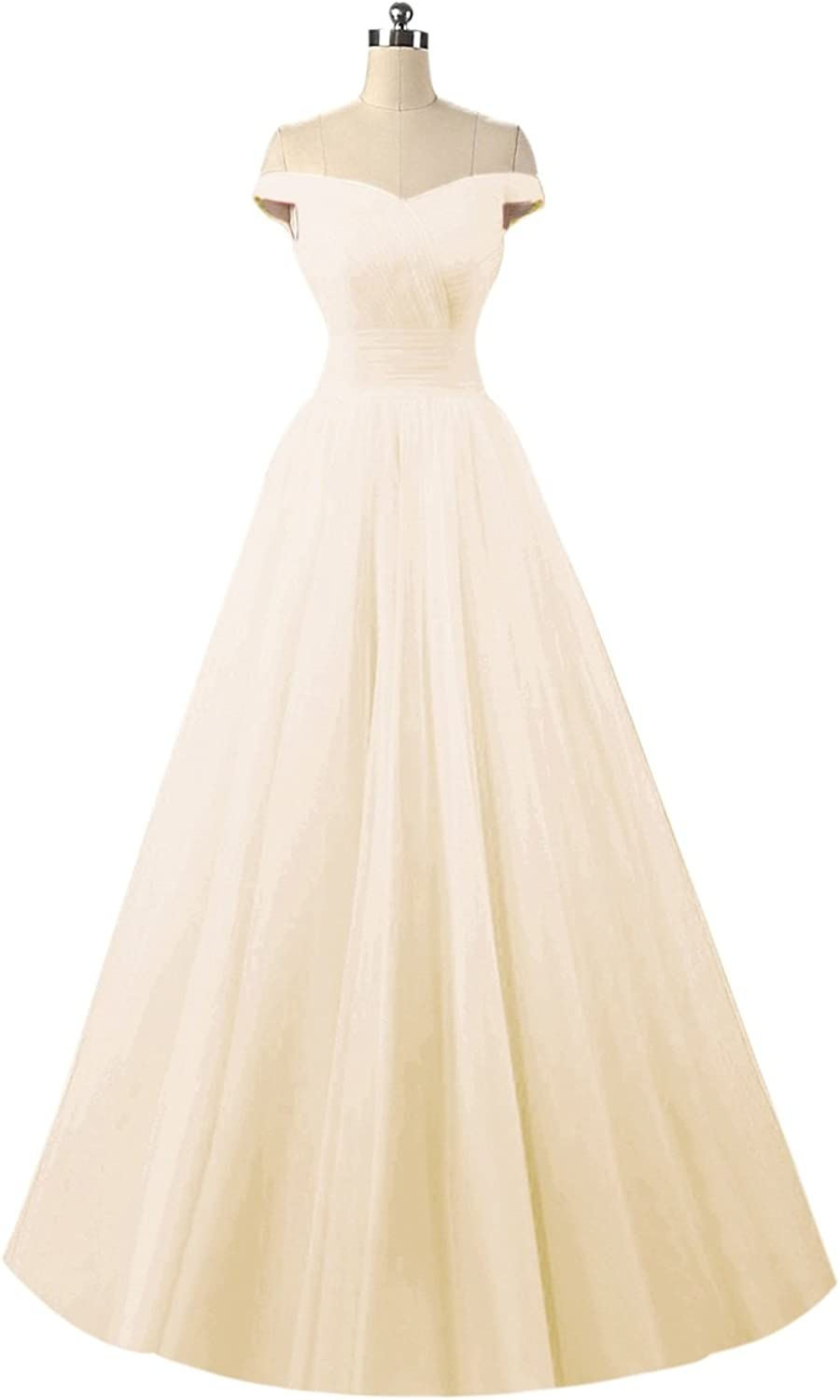 Bess Bridal Women's Off The Shoulder Tulle Lace Up Long Prom Party Dresses
