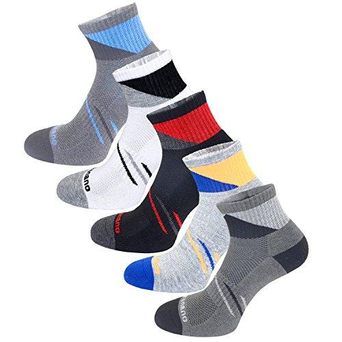 Aaronano 5er Pack Herren Hälfte Cush Terry Quarters Socken Laufsocken Sneaker Socken Running Socks Sportsocken mit verstärkter Frotteesohle -stoßabfedernd schützend