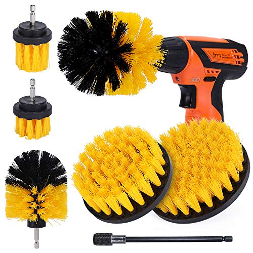 Drill Brush, Drill Brush Attachment for Cleaning Car Carpet, Grout Brush for Cleaning Tiles, Carpets and Car Interior 7 Pieces (Yellow)