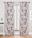 Gold Dandelion Sheer Print Curtains for Bedroom White Burnout Base with Red/Grey Ivy Floral Thin and Soft Grommet Top 52 by 84 inch Long 1 Pair Christmas Red