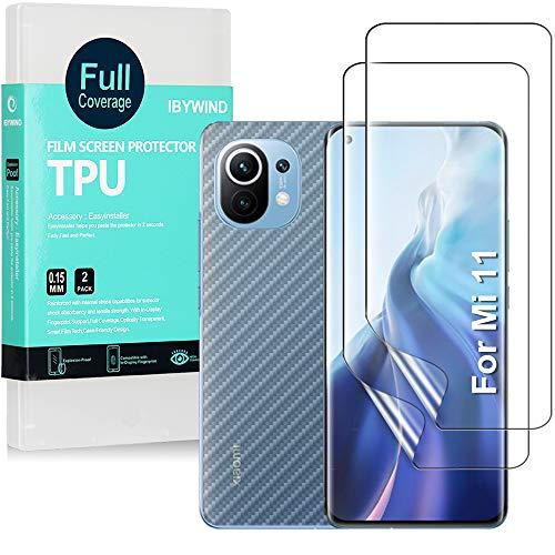 Ibywind [2 Piezas], Protector de Pantalla para Xiaomi Mi 11 5G / Mi 11 Pro 5G,Atrás Pegatina Protectora Fibra de Carbono,[Admite la función de Huella Digital]