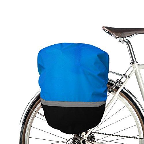 MadeForRain wasserdichte Regenhülle mit Reflektor für Fahrradtaschen/Gepäckträgertaschen BikeRider - Königsblau/Tiefschwarz
