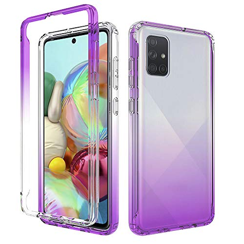 iRunzo 2 in 1 Cover for Samsung Galaxy A71 Case (4G) Soft TPU + PC Bumper Transparent Color-Changing 360° Full Body Protect (Purple)