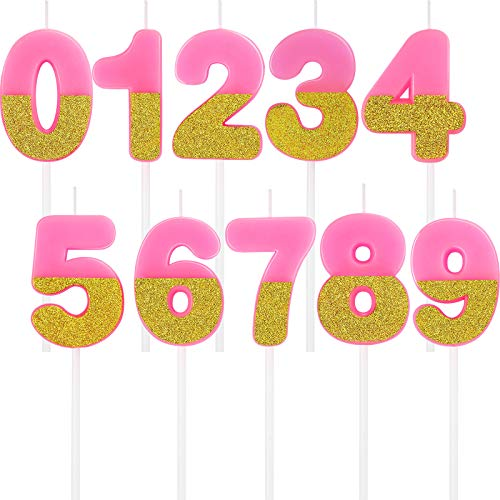 10 Pieces Number Candles Pink Glitter Birthday Numeral Candle Number 0-9 Cake Candles Topper Decoration for Wedding Birthday Anniversary