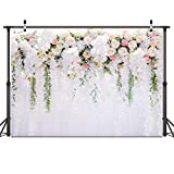 Bridal Shower 7x5ft Wedding Flower Wall Background White and Green Wisteria Rose Flower Background Dessert Table Decoration Photography Newborn Background 059