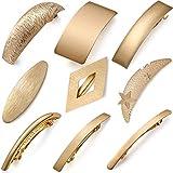 9 pasadores de pelo retro de metal dorado, grandes pasadores para el pelo, simples pasadores de estilo francés para mujeres y niñas, 9 estilos