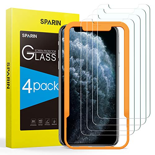 SPARIN Screen Protector for iPhone 11 Pro Max/iPhone Xs Max, [4 Pack] 9H Hardness Tempered Glass for iPhone 11 Pro Max/iPhone Xs Max 6.5 inch [Alignment Frame] [Bubble Free] [High Responsive]