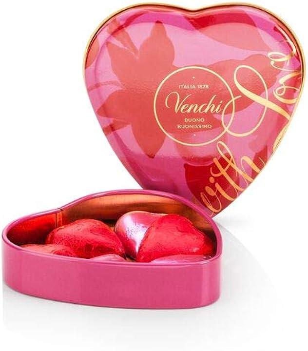 Cuoricini di cioccolato assortiti in scatola regalo a forma di cuore, 48g - senza glutine - venchi B08T8JKP8Z