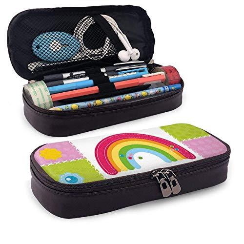 Estuche de lápices de cuero, cuadrados cosidos juntos Costura temática Obra de arte Cute Rainbow Sun Clouds Nature, Estuche de oficina para estudiantes, 7.8 'x4.5' x1.5 '