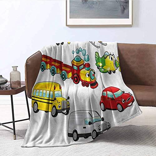 ParadiseDecor Boys Room Blankets Ladder Toys Style Vehicles Soft Fuzzy Plush Blanket, Luxury Flannel Lap Blanket 66x90 Inch