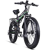 Skyzzie Electric Mountain Bike Folding E-bike 1000W Electric Bicycle with Removable 48V 12.8AH Lithium-Ion Battery,26' Off-Road Wheels Premium Full Suspension and Shimano 21 Speed Gear