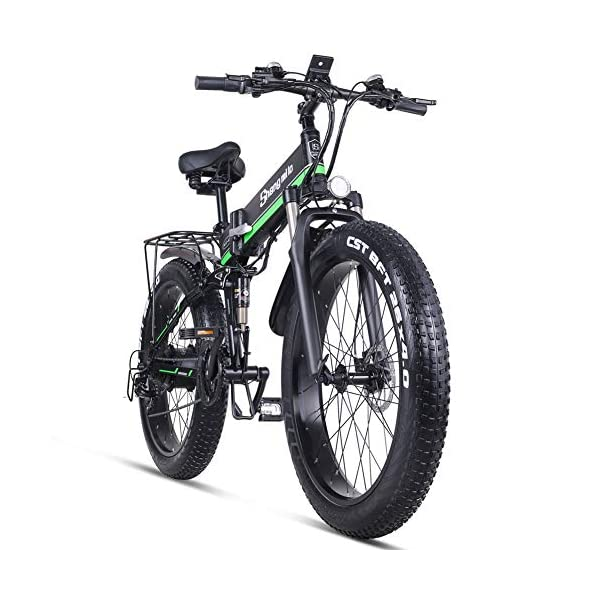 "51vv GRhKOL. SS600  - Skyzzie Elektrofahrrad Fahrräder Mountainbikes F0148V, 26"" x4.0 Fatbike Offroad-Reifen E-Bike Cityräder mit Motor, 1000W 12.8Ah 50 km Akkulaufzeit, Rot, Grün"
